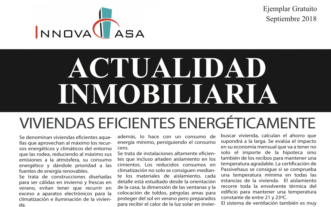 Revista de actualidad inmobiliaria de septiembre de 2018